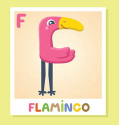 F is for flamingo letter f flamingo cute vector