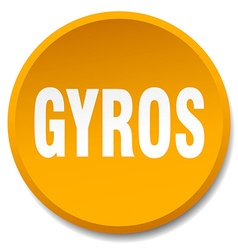 gyros orange round flat isolated push button vector image vector image