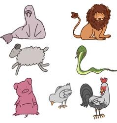 Hand drawn animals vector image vector image