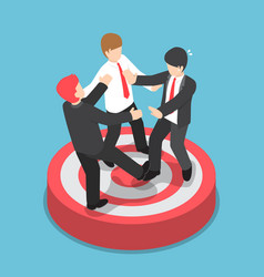 isometric businessmen fighting for standing on vector image vector image