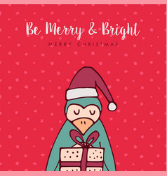 merry christmas red penguin cartoon greeting card vector image vector image