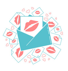 messages of love envelope with kisses vector image vector image