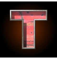 Old metal letter t vector