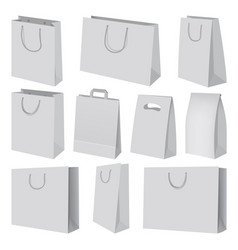 Paper bag mockup set realistic style vector