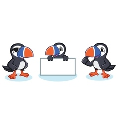 Puffin mascot happy vector