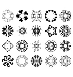 set of black round design elements vector image