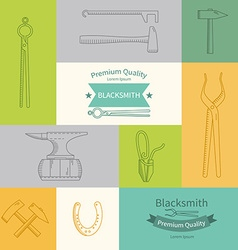 Set of linear icons blacksmith vector