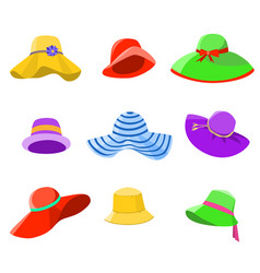 Set of summer hats women vector