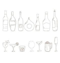 Sketch of wine bottles vector