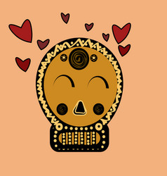 skull in love ironic icon vector image