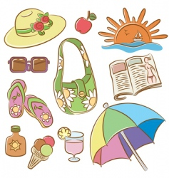 summer female vacation icons set vector image vector image