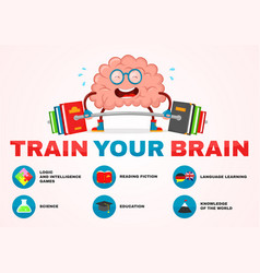train your brain infographic brain vector image vector image