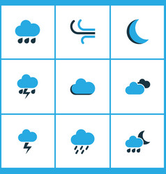 weather colored icons set collection of night vector image
