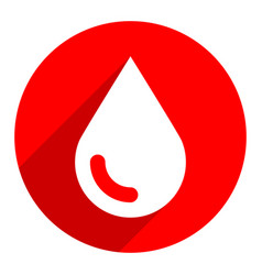 White blood drop sign circle icon vector