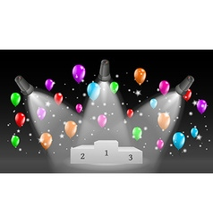 Winning podium and lights with balloons vector
