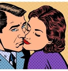 Woman hugging a sad man style pop art retro vector