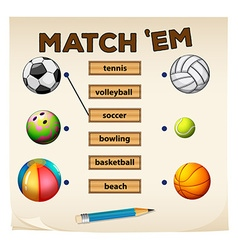 Matching game with sports and balls vector