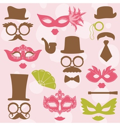 Retro Party set - Glasses hats lips mustaches mask vector image