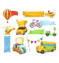 Cartoon transportation cars and airplanes with vector
