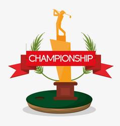 Championship trophy golf banner vector