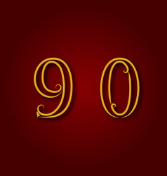 nine zero golden vintage numbers vector image