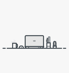 Workspace table with laptop vector