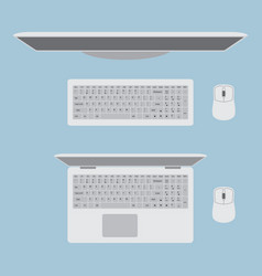 monitor with keyboard and mouse laptop with vector image
