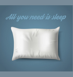 White pillow on blue background with real shadow vector