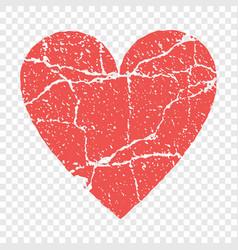 Grunge red heart transparent vector