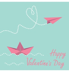 Origami paper boat and paper plane valentines day vector