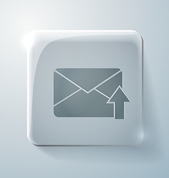 Postal envelope glass square icon with highlights vector