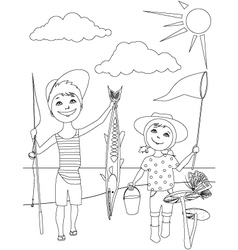 Summer activities for kids coloring page vector