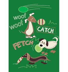 3 dogs playing with toy embroidery vector