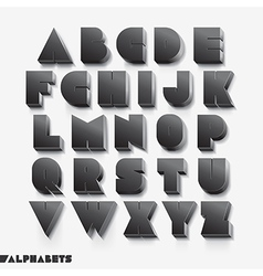 3D alphabet black color vector image vector image