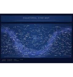 High detailed colored star map with names of stars vector