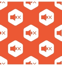 Orange hexagon muted sound pattern vector