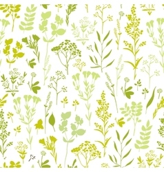 Seamless hand-drawn floral pattern with herbs vector