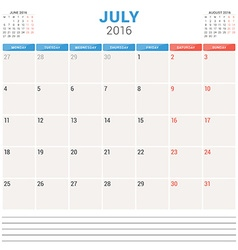 Calendar planner 2016 flat design template july vector