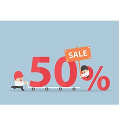Businessman with discount marketing promotion sale vector