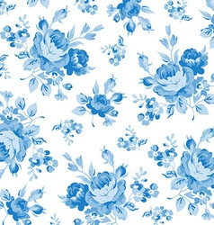Floral pattern with blue rose vector