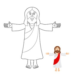 Jesus coloring book jesus christ drawing for vector