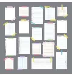 Collection of various note papers with different vector image