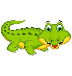 Funny crocodile cartoon posing vector