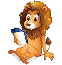 A lion reading a book vector image vector image