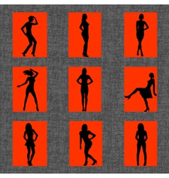 Background with set of sexy women silhouettes vector image vector image