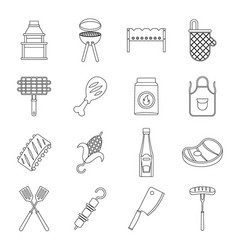 Bbq food icons set outline style vector
