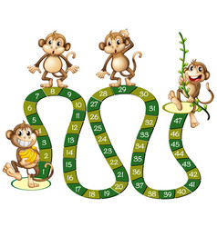 boardgame template with cute monkeys vector image vector image