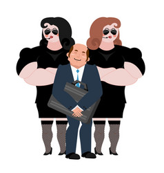 Businessman with wooman bodyguards vip protection vector