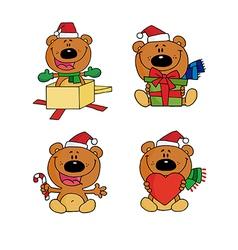 Cartoon chirstmas bear vector