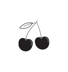 Cherry solid icon healthy fruit graphics vector